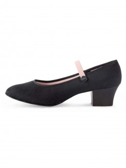 Bloch Tempo Cuban Heel Canvas Character Shoe Black - Main