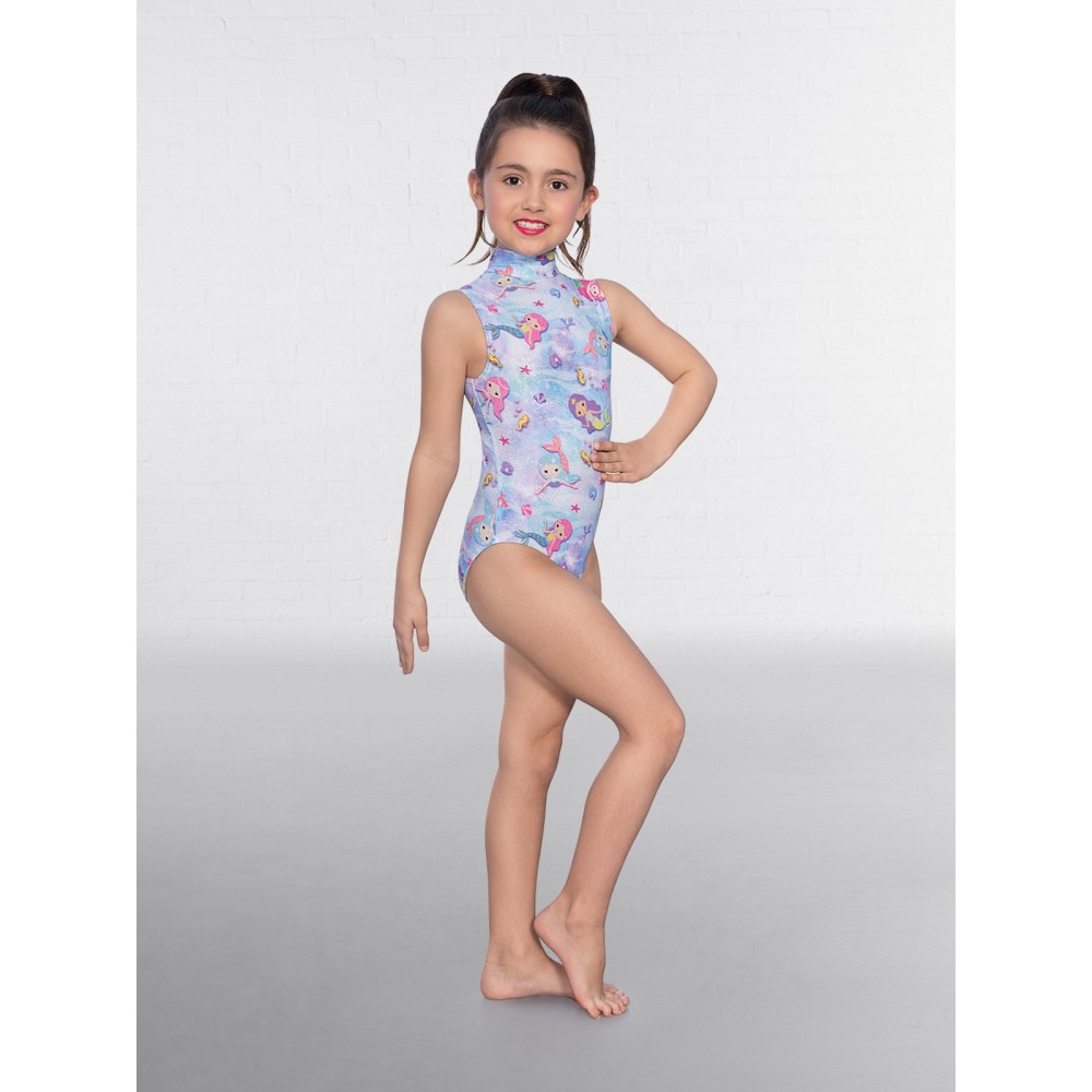 0672f4ed0ad2 1st Position Mermaid Print Polo Neck Leotard - Free UK Delivery ...