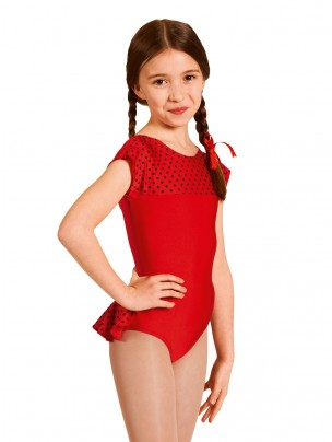 1st Position Natasha Dotty Bum Frill Leotard - Red