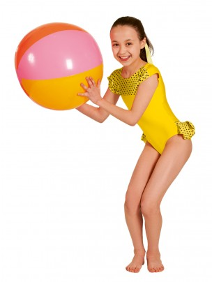 1st Position Natasha Dotty Bum Frill Leotard - Yellow
