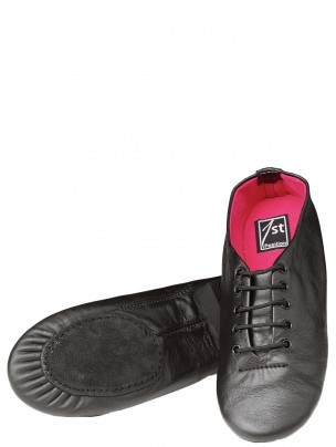 1st Position Split Sole Jazz Shoes - Black/Pink