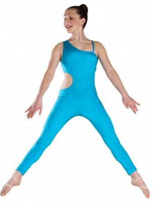1st Position Stephanie Side Hole Asymmetric Catsuit - Kingfisher