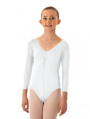 1st Positon Karen Ruched Front Long Sleeved Leotard - White