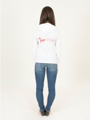 Tap Attack Long Sleeved Fineweight Hooded T-Shirt - White