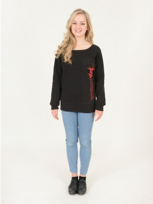 Tap Attack Triblend Slouchy Wideneck Sweatshirt - Black