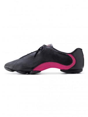 Bloch Amalgam Leather Jazz Sneakers - Black/Hot Pink