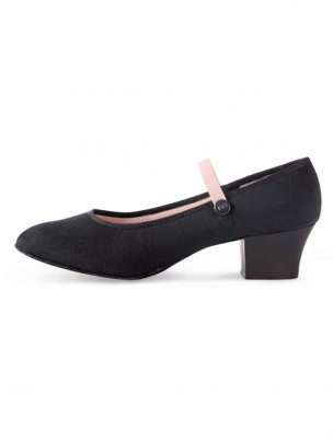 Bloch Tempo Cuban Heel Canvas Character Shoe Black - Main