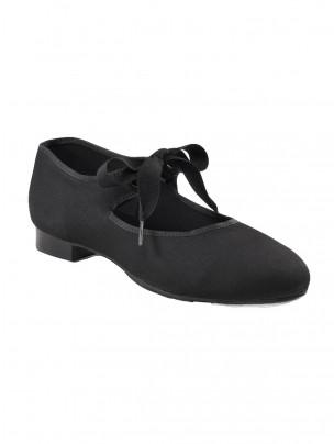 Capezio Canvas Jr Tyette Tap Shoes - Black - Main
