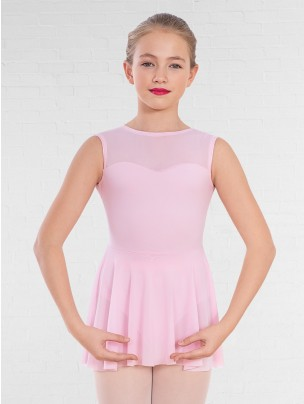 1st Position Mesh Panel Sweetheart Neck Skirted Leotard