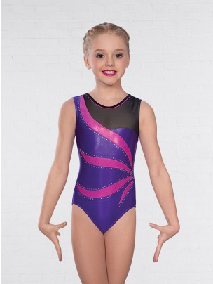 1st Position Alina Asymmetric Mesh Sleeveless Leotard