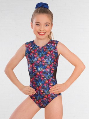 1st Position Mesh Cut Out Back Butterfly Print Sleeveless Leotard