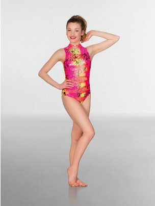 1st Position Jill Polo Neck Printed Leotard Neon Hologram (pink)