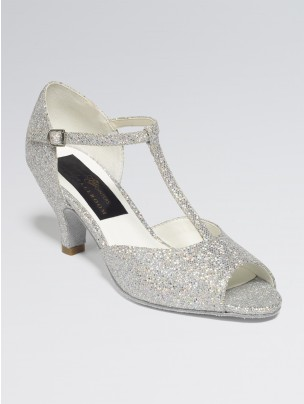 Chloe Glittering Silver and White Multi Hologram Ballroom Shoe Cuban Heel 2.5