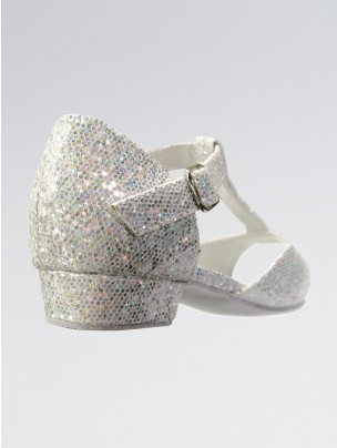 Chelsea Sparkling Silver and White Multi Hologram Childrens Ballroom Shoe