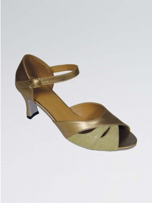 Amelia Pearl PU Ballroom Shoe with Gold Lamé Insert and Ankle Strap