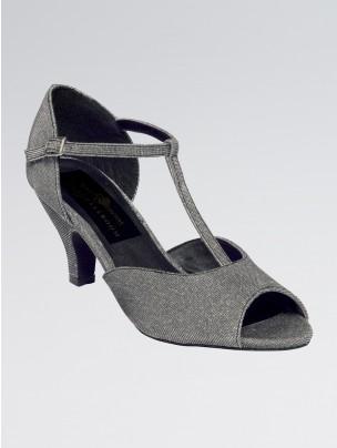 Jasmine Black Lamé Ballroom Shoe with T-bar