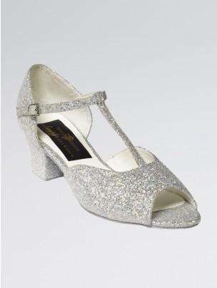 Chloe Glittering Silver and White Multi Hologram Ballroom Shoe Cuban Heel 1.5