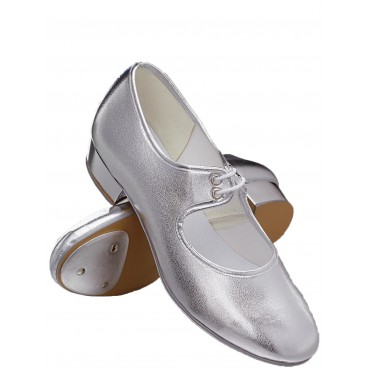 1st Position Low Heel PU Tap Shoes (Silver) - Main