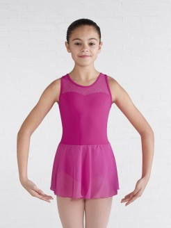 Bloch Sweetheart Neckline Diamond Heart Flocked Mesh Cross Back Skirted Tank Leotard