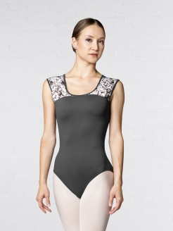 Bloch Open Bow Back Printed Lily Stripe Mesh Cap Sleeve Leotard