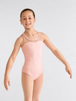 Mirella Applique Mesh Yoke Back Tank Leotard