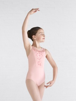 Mirella Embroidered Mesh Bodice Keyhole Leotard