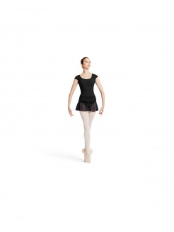 Mirella Stretch Lace Trim Shoulder and Back Opening Cap Sleeve  Leotard