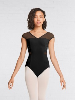 Mirella V Neck Back Mesh Cap Sleeve Leotard