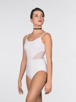 1st Position Mesh insert Cami Strap Fashion Leotard White