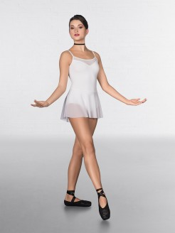 1st Position Mesh insert and Skirted Fashion Leotard White
