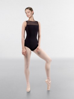 Grishko Mesh Yoke Boat Neck Sleeveless Leotard