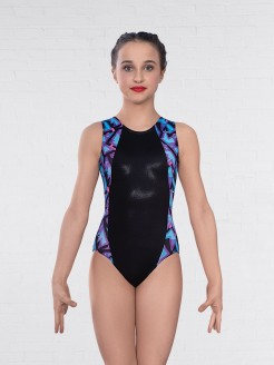 1st Position Fracture Print Side Panel Sleeveless Leotard