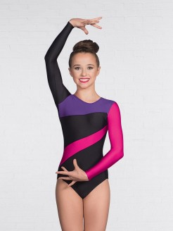 1st Position Brooke Multi Stripe Long Sleeved Leotard Black/Purple/Raspberry