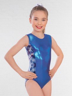 1st Position Side Panel Diamond Print Sleeveless Leotard