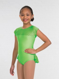 1st Position Natasha Dotty Bum Frill Leotard Flo Green