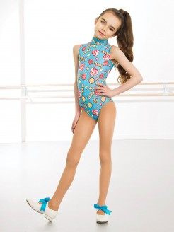 1st Position Jill Polo Neck Printed Leotard