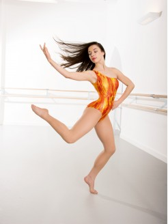 1st Position Phoenix Flame Asymmetric Leotard