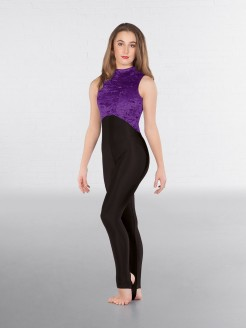 1st Position Melinda Velour High Neck & Keyhole Back Catsuit