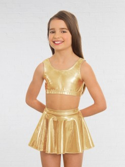 1st Position Metallic Crop Top Gold