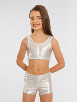 1st Position Metallic Crop Top Silver