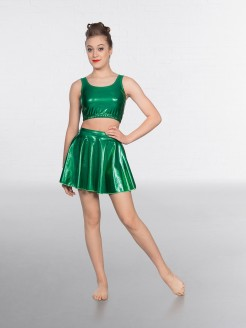 1st Position Metallic Crop Top Emerald