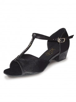 Roch Valley Jenny Ballroom Satin Shoe with T-Bar Straps with Diamantes 1.2 inch Cuban Heel