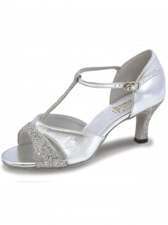 Roch Valley Lucina Ladies Ballroom Glitter Shoe with T-Bar Straps 2.5 inch Slim Flared Heel
