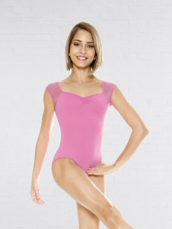 So Danca Leotard with Lace Cap Sleeve