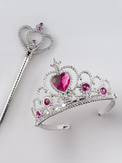 Tiara Pink Stone with Crown Wand