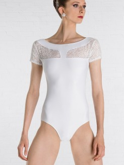 Wear Moi Darlene Cap-Sleeve Leotard with Flower Detail