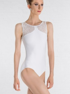 Wear Moi Noelie Open Keyhole Back Leotard with Flower Detail